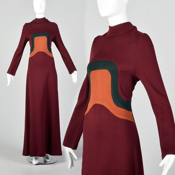 XS 1970s Maxi Dress Vintage Color Block Maxi  Spac