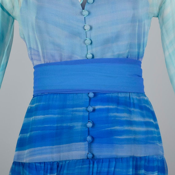 Small Travilla Flowy Silk Dress Long Sleeve Royal… - image 10