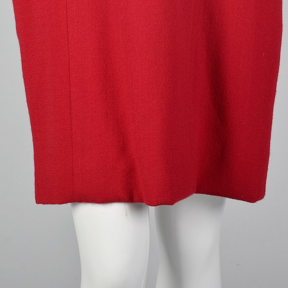 Small Travilla Red Wool Dress Long Sleeve Flared … - image 8