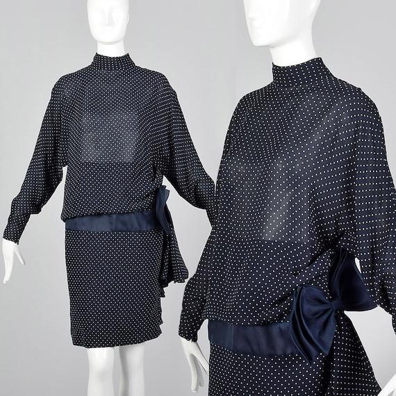 Dot Dress Dolman Skirt Swiss Print Navy Vintage Sleeves Silk 1980s Blue 80s Sleeve Small Valentino Pencil Night Long Dress 7pq7Cwx