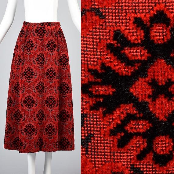 XS 1970s Tapestry Skirt 70s Maxi Skirt Boho Hippie