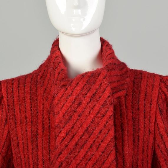 Medium 1980s Pauline Trigere Coat Red Mohair Blac… - image 9