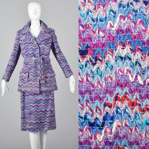 Medium 1970s Via Veneto Purple Tweed Skirt Suit Au