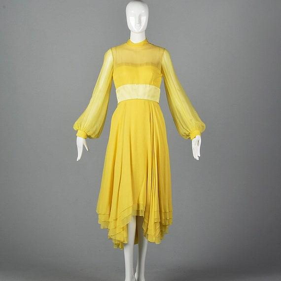 XS Travilla Yellow Chiffon Dress Romantic Formal … - image 1