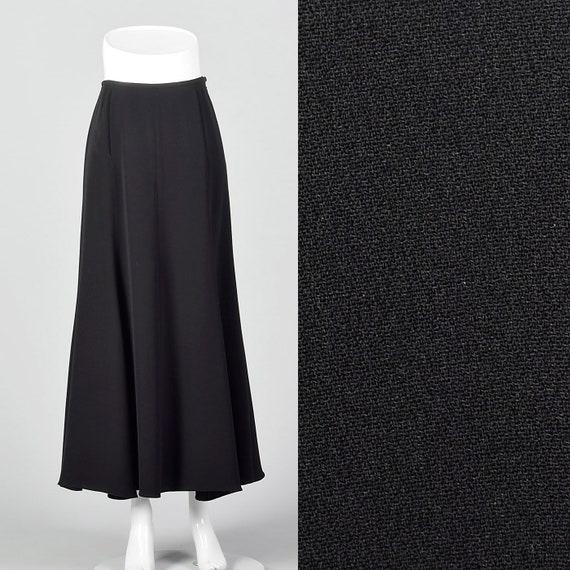 Small 1990s Giorgio Armani Black Maxi Skirt Merma… - image 1