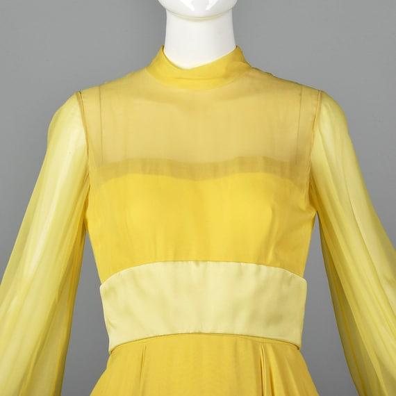 XS Travilla Yellow Chiffon Dress Romantic Formal … - image 9