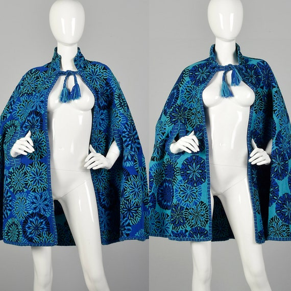 1970s Reversible Tapestry Cape Bohemian Outerwear