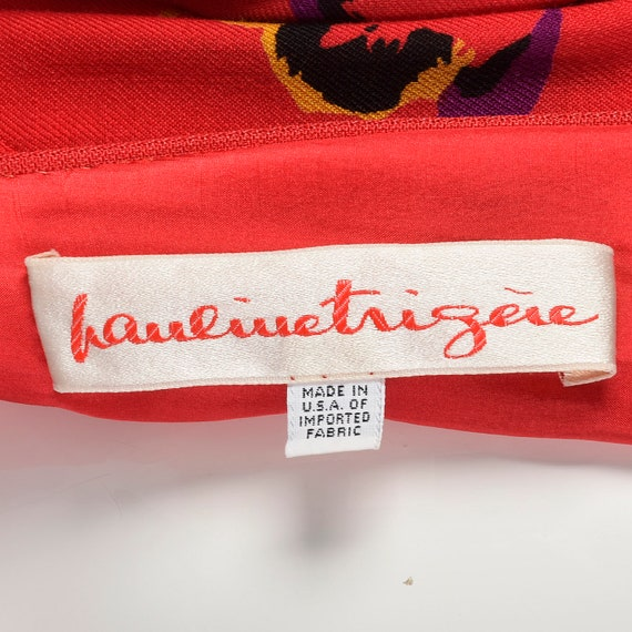 Small 1980s Pauline Trigere Dress Long Sleeve Red… - image 10