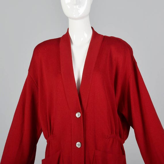 Oversized Karan Separates Wool Wool Red 80s 1980s Sleeve Large Vintage Cardigan Cardigan Long Separates Knit Donna O5znvq