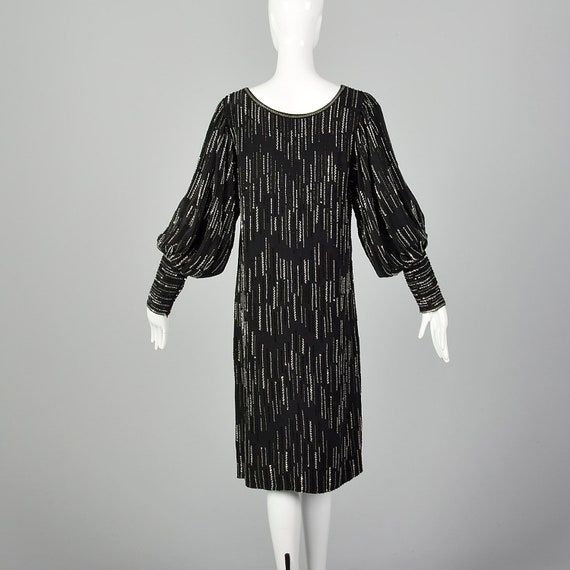 XS 1980s Argenti Black Beaded Dress Pullover Ball… - image 4