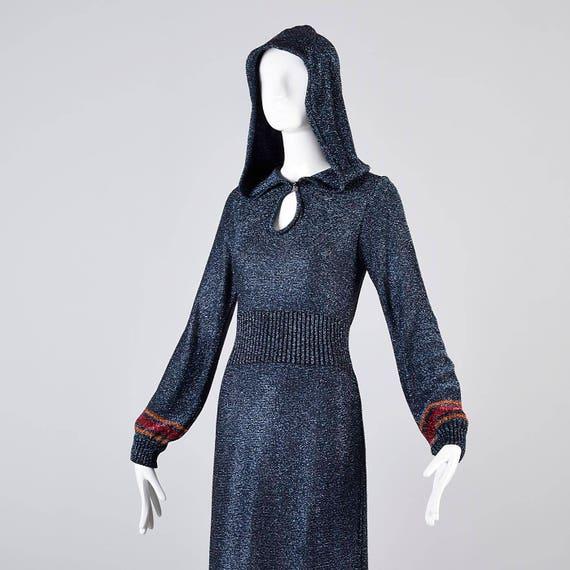 1970s Lurex Dress Floor Hooded Evening 70s Small Wedding Bohemian Blue Length Metallic Dress Gown Hippie Vintage Boho qRxg1