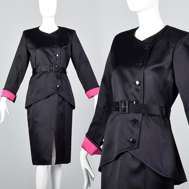 dd87669d2 Small Yves Saint Laurent Rive Gauche Satin Skirt Suit Black | Etsy