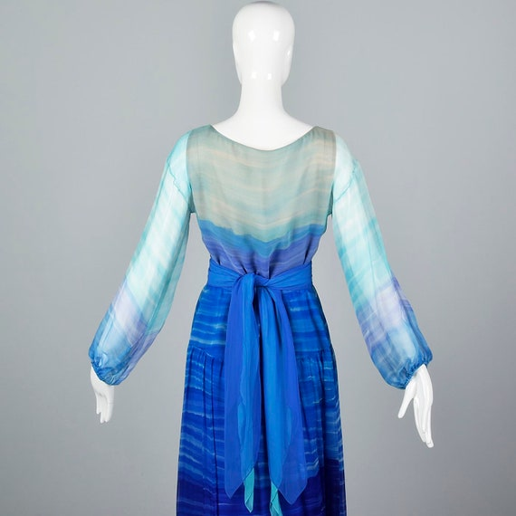 Small Travilla Flowy Silk Dress Long Sleeve Royal… - image 8