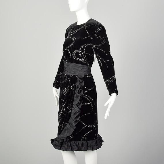 Large 1980s Escada Dress Black Velvet Glitter Ruf… - image 3