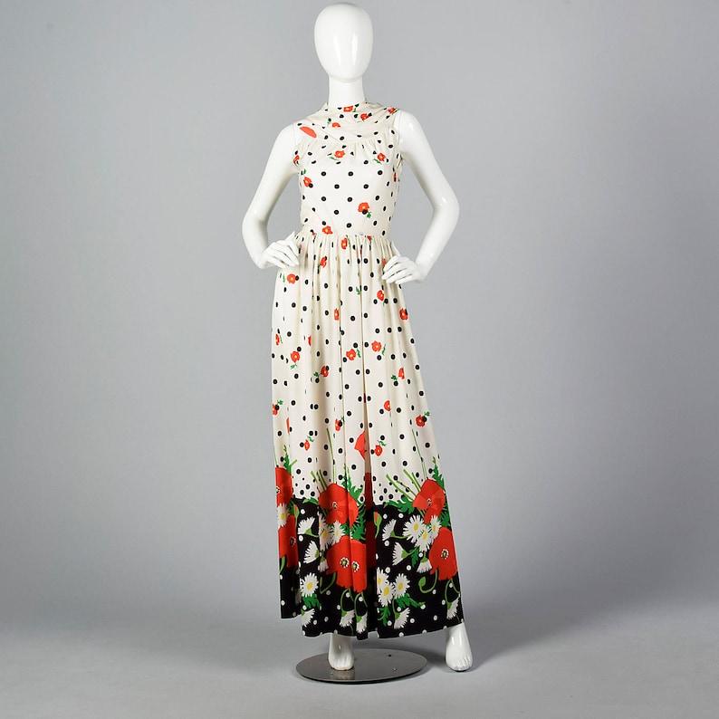 bd310be70a 1960s Oscar de la Renta Poppy Print Jumpsuit Wide Leg Palazzo