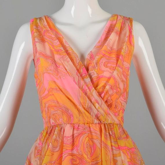 Chiffon XS Mini Cocktail Pink Skirt Dress Swirl Dress Dress Full 60s Dress Psychedelic Party Sleeveless Dress Circle Yellow Dress Mini Dress vxXfRq