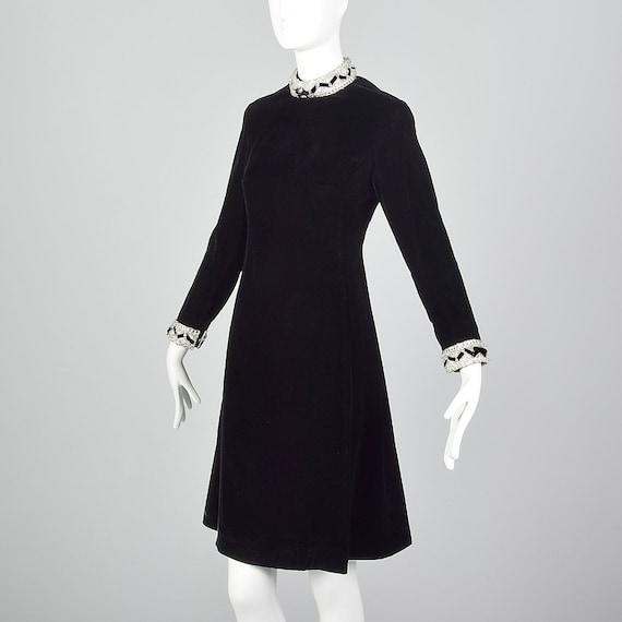 Medium Sleeve Beaded Line 1960s Velvet Party Dress Winter Cocktail Holiday Trim Black Skirt 60s Dress A Vintage Long XwXqfgrHx
