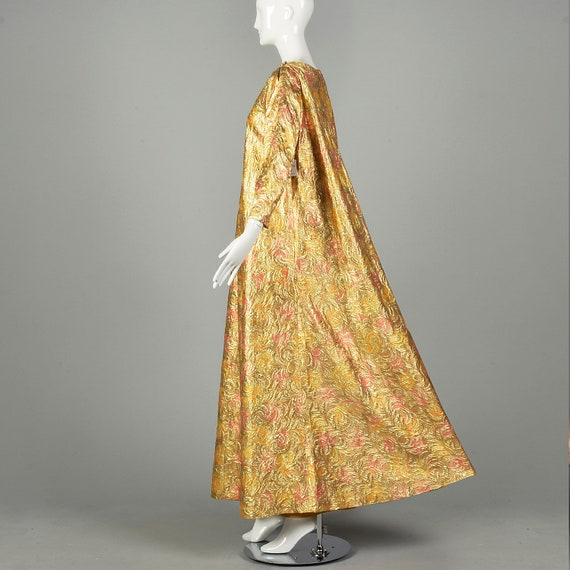 1960s Lucie Ann Kaftan Metallic Gold Tent Dress L… - image 4