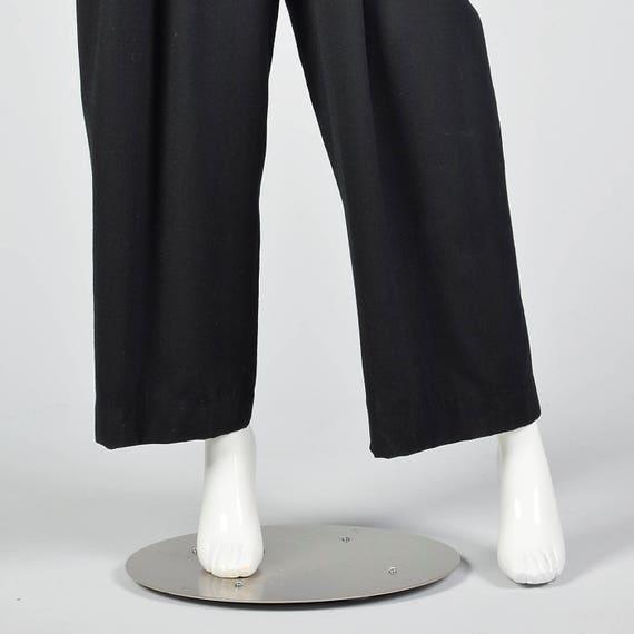 Evening Medium 1980s Cocktail Wear Leg Front Jumpsuit Party 80s Vintage Button SleeveJumpsuit Black Wide Long qgprfFzq