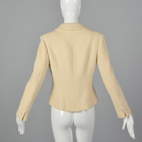 Medium Chanel 1990s Cream Wool Jacket Vintage Cha… - image 4
