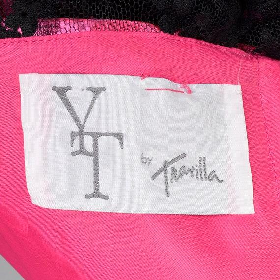 XS Travilla YT Hot Pink Dress Sheer Black Lace Ov… - image 10