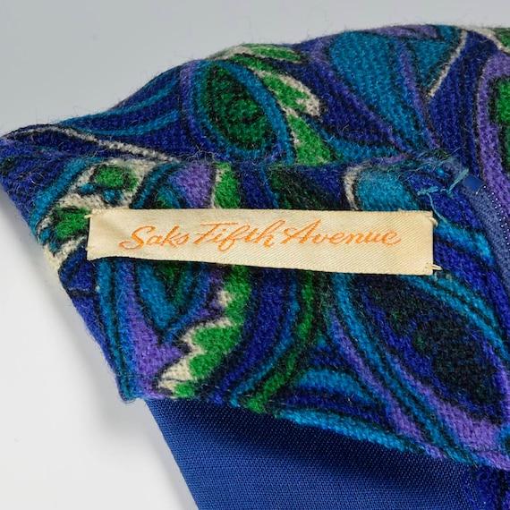 Paisley Long Purple Mod Dress Print Loose Length Wool Dress 1960s Knee Sleeve Medium Perky Vintage Dress 60s xqzIBOnH
