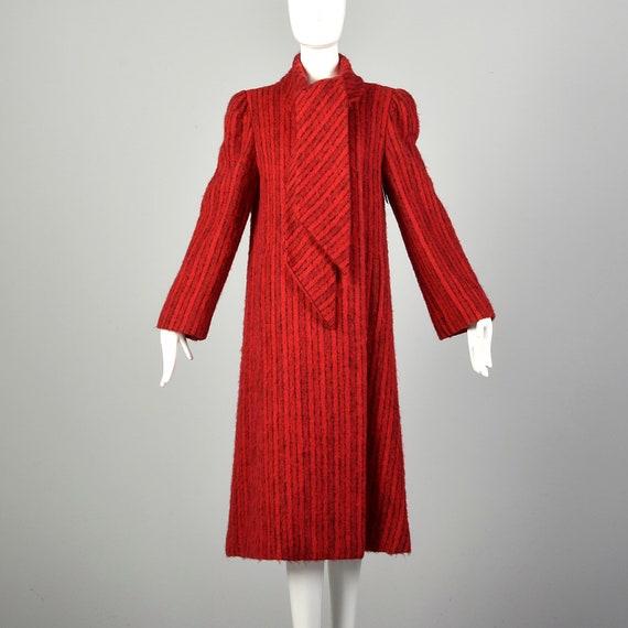 Medium 1980s Pauline Trigere Coat Red Mohair Blac… - image 1