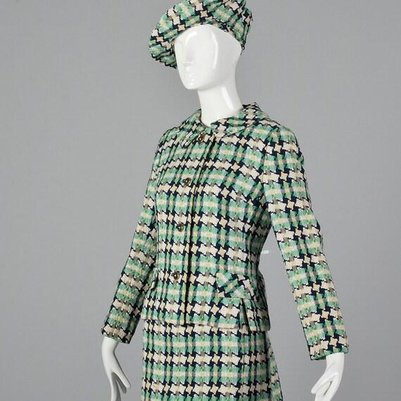 Shift Dress Jacket 1960s Sleeve I Tweed Magnin Fringe Cropped Beret Scarf Short Jacket Set Vintage 60s Dress Matching Medium XHqwPw