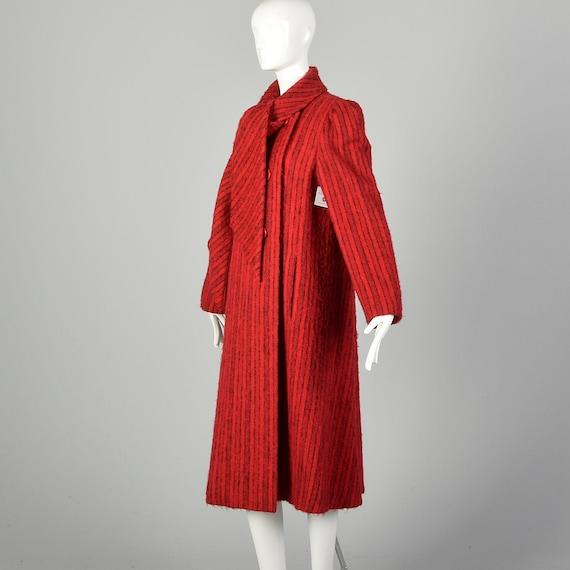 Medium 1980s Pauline Trigere Coat Red Mohair Blac… - image 4