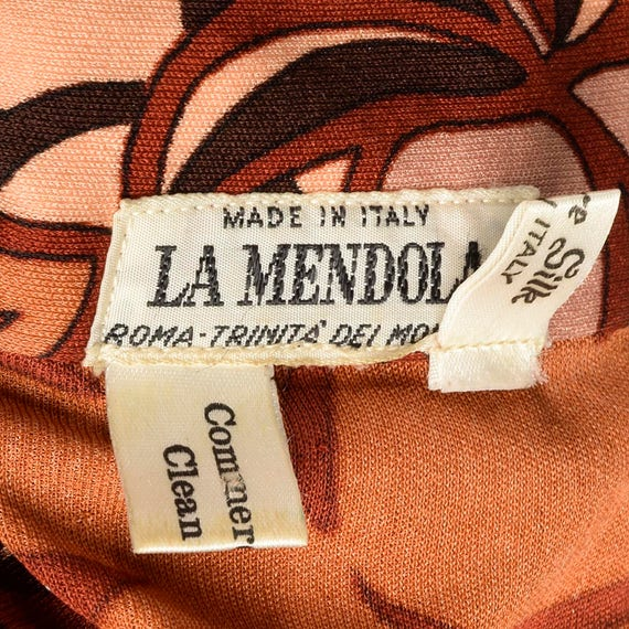 Mendola Length Dress Loose Silk Knee Boho Dress Long 70s La Bohemian Small Autumn Sleeves 1970s Vintage Print 5gqwOIAx5