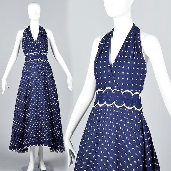 Bandana Vintage Halter Full Length 70s Blue Dress Dress 1970s White Dot V Summer Neckline Navy Maxi Dress Polka Deep Bohemian XS Backless Z4qw66
