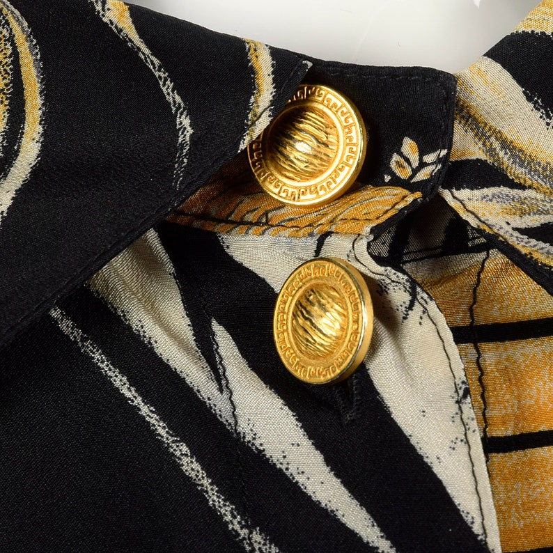 XL Louis Feraud Silky Print Blouse Geometric Abstract Gold Buttons Square Bottom Lightweight Vintage 1990s Womens Button Up