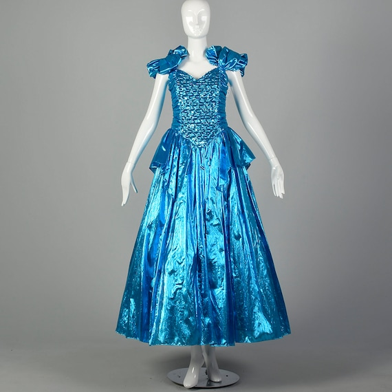 1980s Electric Blue Lame Prom Dress Evening Gown F