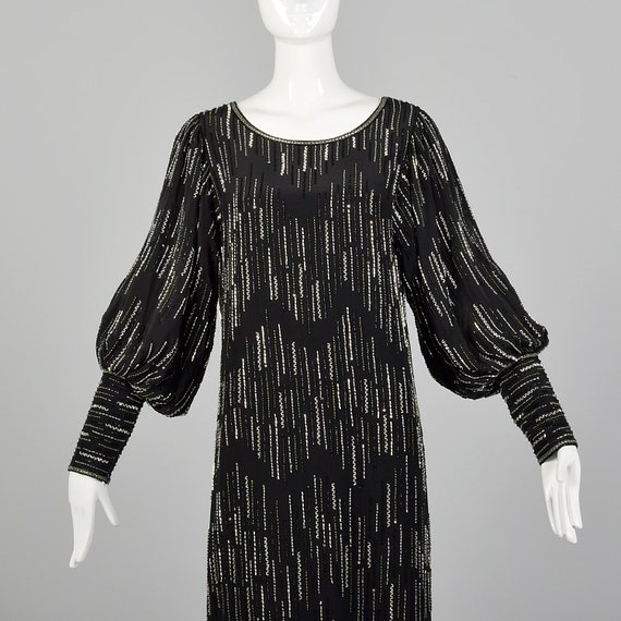 XS 1980s Argenti Black Beaded Dress Pullover Ball… - image 5