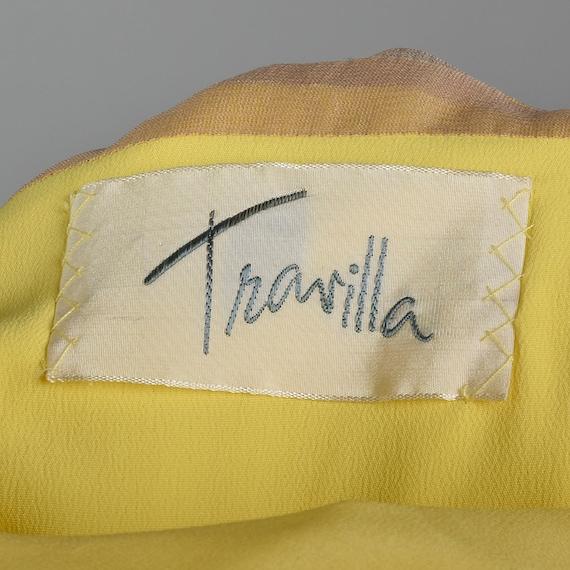 XS Travilla Yellow Chiffon Dress Romantic Formal … - image 5