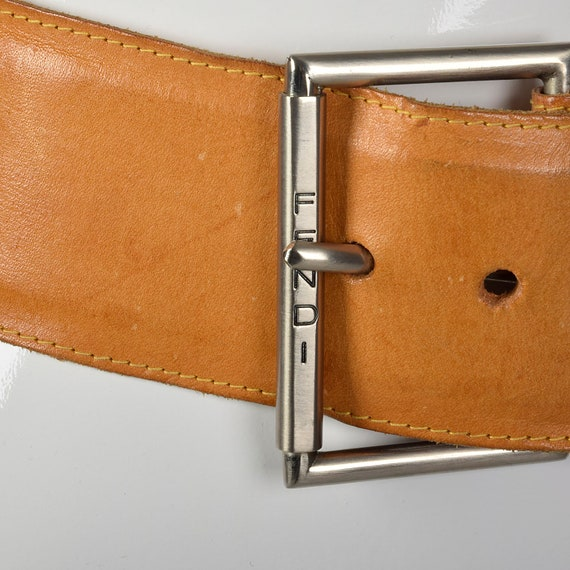 Small Fendi Wide Leather Belt Silver Buckle Brown… - image 6