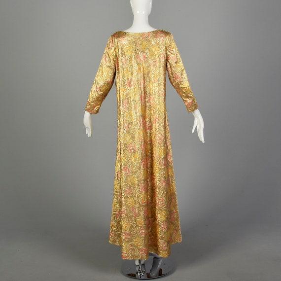 1960s Lucie Ann Kaftan Metallic Gold Tent Dress L… - image 2