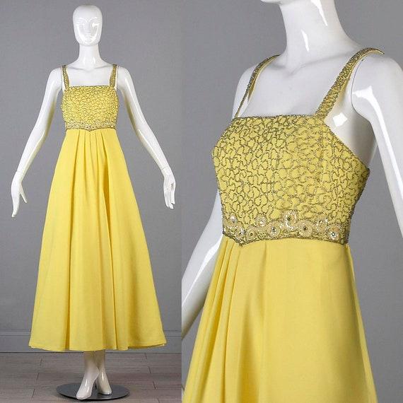 70s Formal Dress 70s Dress 70s Maxi Dress Bright Y