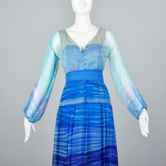 Small Travilla Flowy Silk Dress Long Sleeve Royal… - image 6