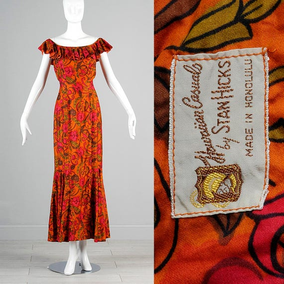 Vintage Dress Mermaid Hawaiian Evening Fitted Off Wiggle Dress Small 70s 1970s Shoulder Dress Tiki qPSRUR