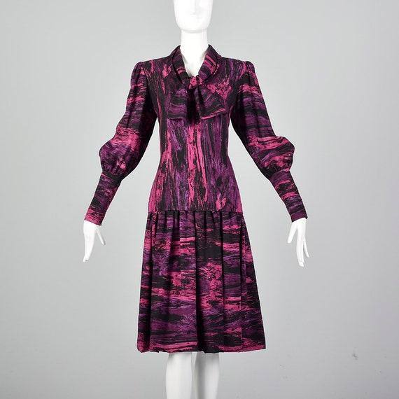 Medium Pauline Trigere Drop Waist Dress 1980s Tri… - image 3