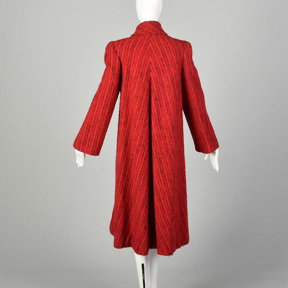 Medium 1980s Pauline Trigere Coat Red Mohair Blac… - image 3