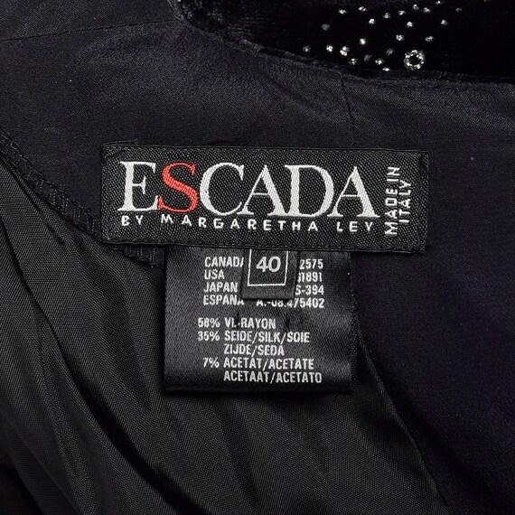 Large 1980s Escada Dress Black Velvet Glitter Ruf… - image 10