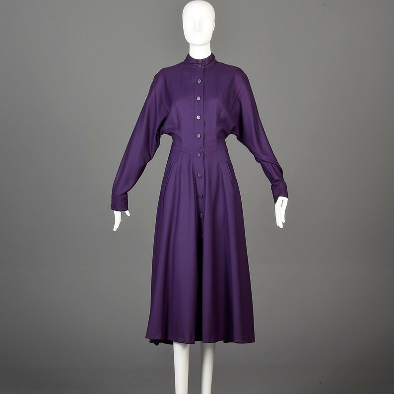 fa0679ae7488 Karl Lagerfeld Dress Purple Designer Midi Dress Long Sleeve