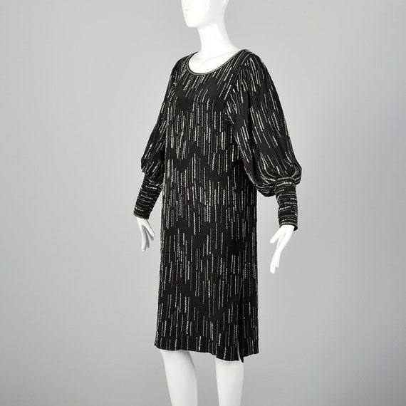 XS 1980s Argenti Black Beaded Dress Pullover Ball… - image 3
