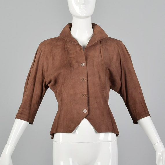 Small Jean Muir 1980s Suede Jacket Vintage Brown S