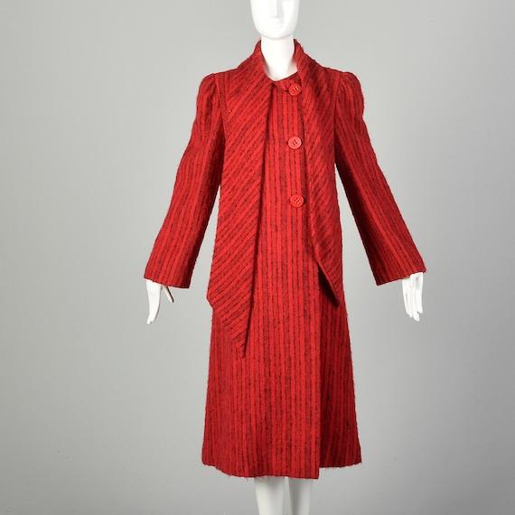 Medium 1980s Pauline Trigere Coat Red Mohair Blac… - image 2