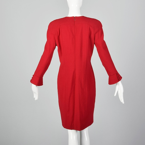 Small Travilla Red Wool Dress Long Sleeve Flared … - image 3