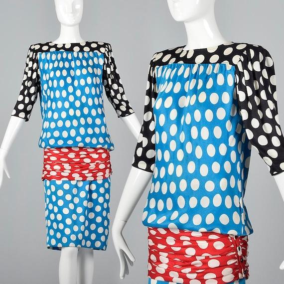 XS Emanuel Ungaro Silk Polka Dot Dress Keyhole Bac