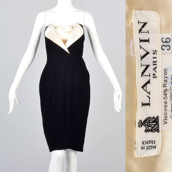Xxs 1980s Lanvin Pencil Dress Sexy Little Black Dress Cocktail Etsy